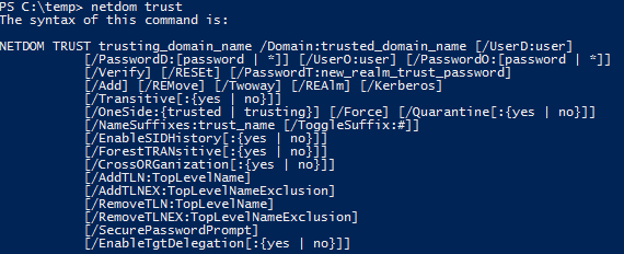 Active Directory Trusts PowerShell with NetDom.exe