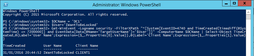 Find Active Directory User Lockout Origin - PowerShell