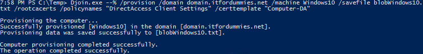 Offline Domain Join Blob Creation For Direct Access