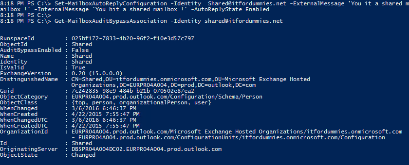 Enable Out of Office Shared Mailbox - PowerShell