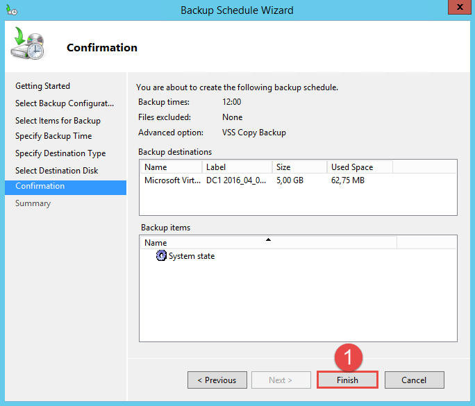Configure Active Directory Backup - Schedule Backup 12