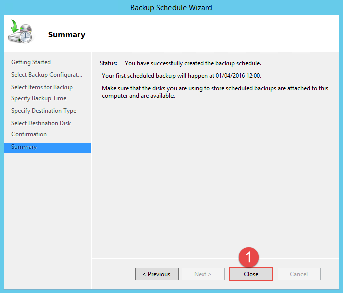 Configure Active Directory Backup - Schedule Backup 14