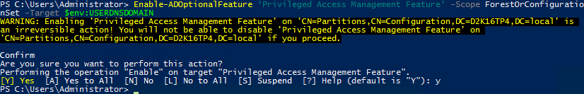 Privileged Access Management Directory Services - Enable-ADOptionalFeature