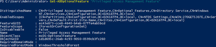 Privileged Access Management Directory Services - Get-ADOptionalFeature - Enabled