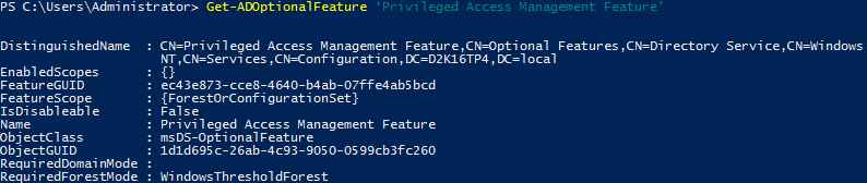 Privileged Access Management Directory Services - Get-ADOptionalFeature