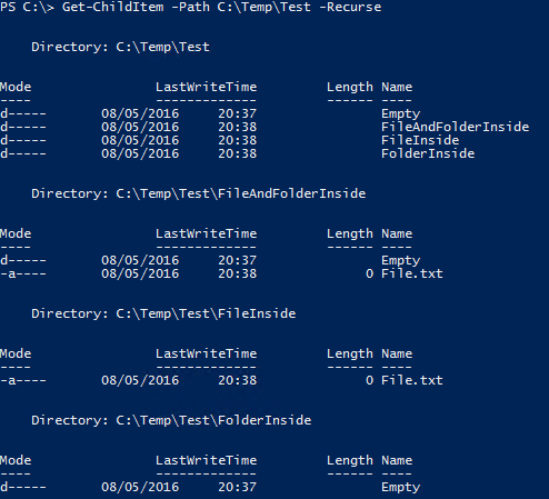 Get Empty Folders PowerShell - My Test Folder