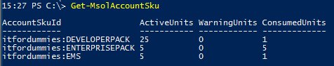 Office 365 License Option PowerShell - MSOL Account SKU