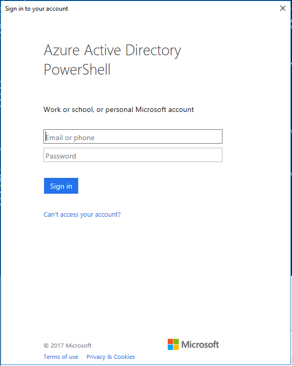 Connect Office 365 Services PowerShell - Azure AD Connect