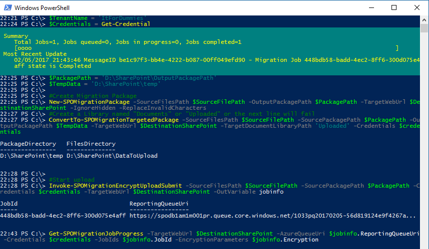 Migrate Data SharePoint Online PowerShell - Pure PowerShell Upload Complete