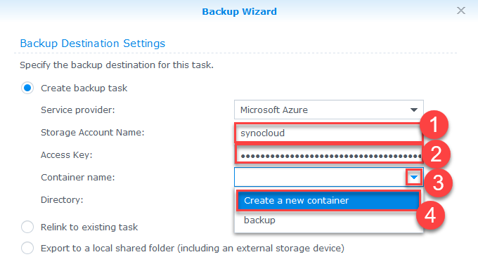 Backup Synology NAS Azure - Azure Storage Account