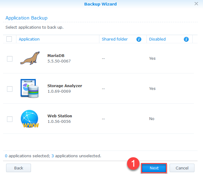 Backup Synology NAS Azure - Select Applications