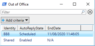 Get Mailbox Out of Office Configuration PowerShell - Out-GridView
