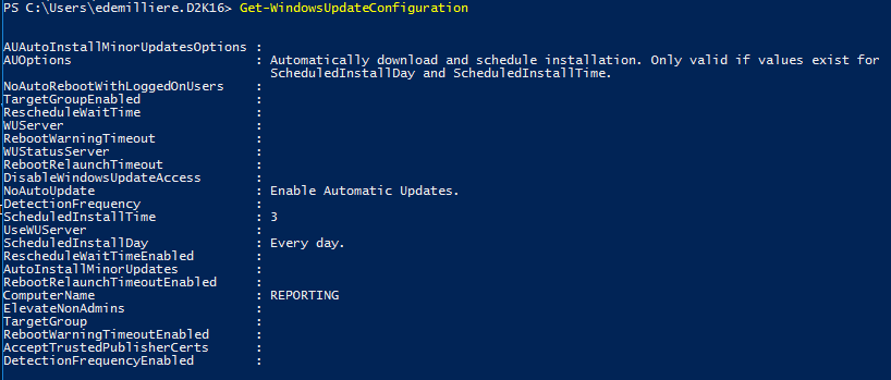 Get Windows Update Configuration PowerShell - Example