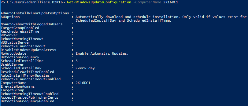 Get Windows Update Configuration PowerShell - Remote Computer Example