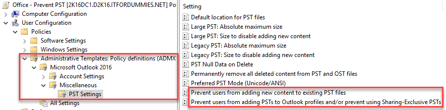 Prevent PST Usage Growth PowerShell - GPO