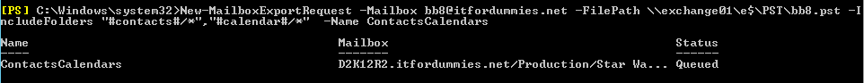 Export Contacts Calendar Mailbox PowerShell - New-MailboxExportRequest