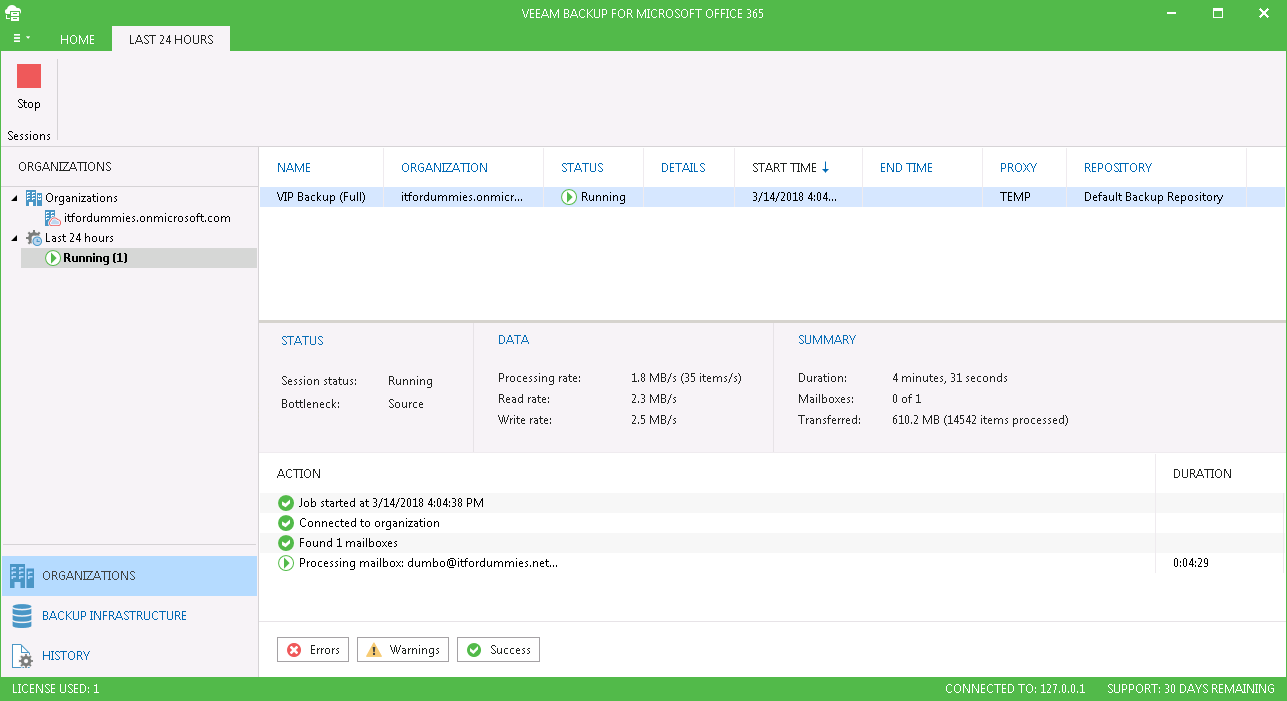 Backup Export Office 365 Exchange Online Mailbox - Backup with Veeam