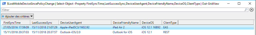 Get Mobile Device Policy Change PowerShell - Out-GridView