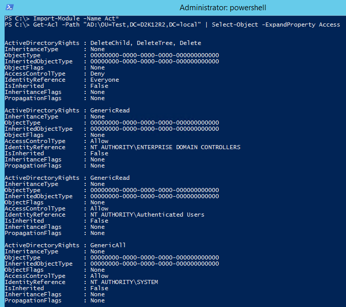 Remove Active Directory ACL PowerShell - Get ACL