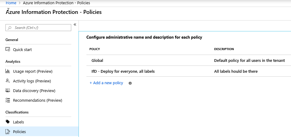 Azure Information Protection Overview - AIP Plicies