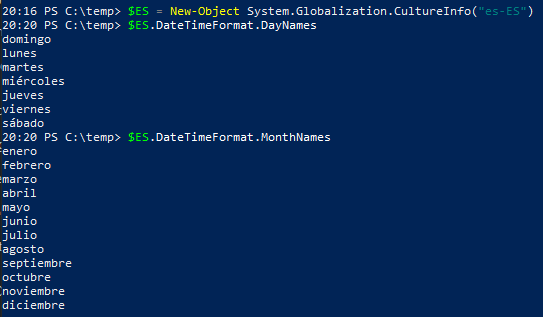 Get-Date Multi Language PowerShell - Spanish day & month names