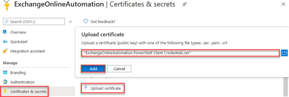 Upload certificate for authentication